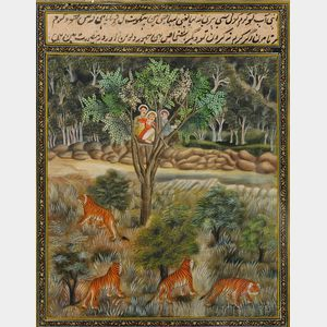 Miniature Painting Depicting Tiger Hunting