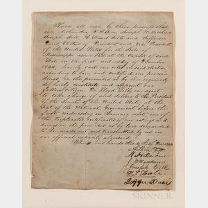 Davis, Jefferson (1808-1889) Document Signed, 1 December 1844.