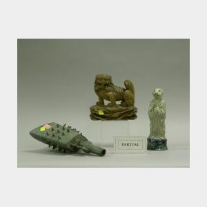 Asian Carved Wood Boat Model, Bronze Bell, Lion and Four Pottery Tomb Figures.