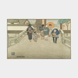Charles W. Bartlett (British, 1860-1940)  Bridge in Kyoto