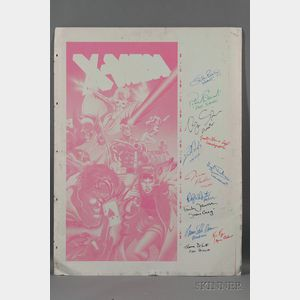 X-Men (2000) Movie Autographed Metal Offset Comic Poster Print Magenta Panel