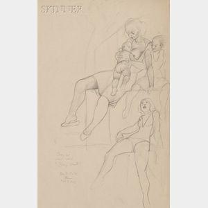Allan Rohan Crite  (American, 1910-2007)      Busy Street / A Study for a Mural