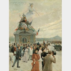 Mariano Alonso Pérez (Spanish, 1857-1930)      Allegorical View of a Bastille Day Parade
