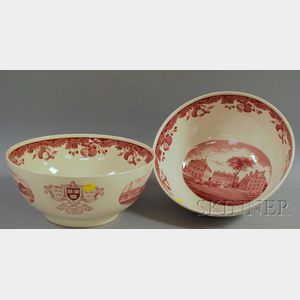 Two Wedgwood Red and White Harvard University Tercentenary Punch Bowls.