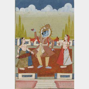 Miniature Painting Depicting Krishna Dancing