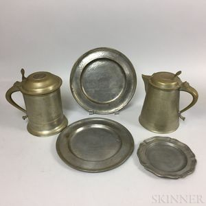 Five Continental Pewter Tableware Items