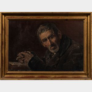 European School, 19th Century      Man with Clasped Hands.