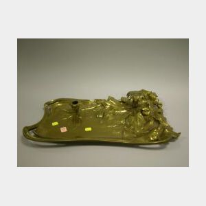 Art Nouveau Bronze Console Candle Tray