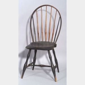 Black Painted Bow-back Windsor Side Chair