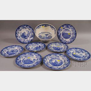 Eight Wedgwood Blue and White Harvard University Ceramic Plates and a Punch Bowl.