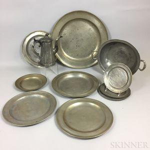 Twelve Pewter Tableware Items.