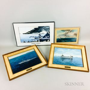 Four World War II Naval Illustrations