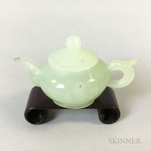 Miniature Light Green Hardstone Covered Ewer
