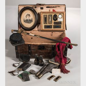 Trunk and Civil War Items Identified to Captain John W. Trafton, Company E, 27th Massachusetts Volunteer Infantry