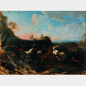 School of Philipp Peter Roos, called Rosa di Tivoli (German, 1657-1706)    Herders and Horses in a Dramatic Landscape