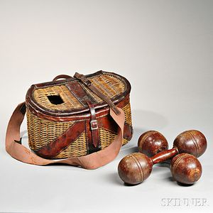 Fishing Creel and Pair of Wooden Dumbbells
