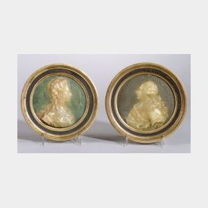 Near Pair of Wax Relief Portraits of French Nobility