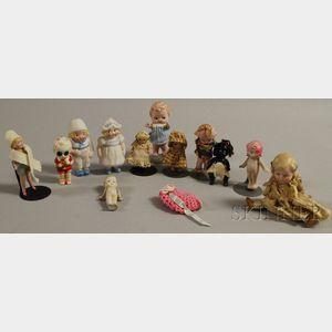 Collection of Twelve Miniature Bisque Dolls