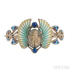 Art Deco Egyptian Revival Gilt-silver, Enamel, and Lapis Bracelet