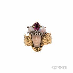 18kt Gold Gem-set Figural Ring