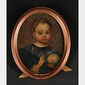 Oil on Copper Miniature Portrait of a Child