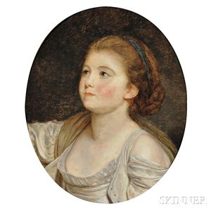 Attributed to Jean Baptiste Greuze (French, 1725-1805)      Bust of a Young Woman