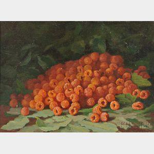 Jonas Joseph LaValley (American, 1858-1930)    Still Life with Raspberries.