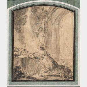 Attributed to Gabriel de Saint-Aubin (French, 1724-1780)      Louis XVI au sacre   (At the Coronation)
