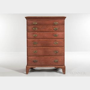 Red-painted Birch and Cherry Tall Chest of Six Drawers