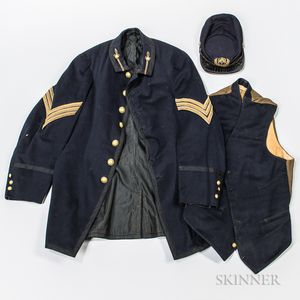 Peekskill Military Academy Sack Coat, Vest, and Kepi Identified to Edwin G. Rude