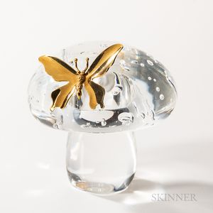 """Steuben Sterling Silver, 18kt Gold, and Glass """"Mushroom and Butterfly"""" Sculpture"""