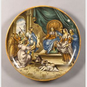 Large Italian Majolica Tin Glazed Earthenware Charger