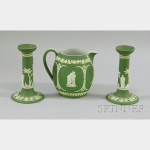 Wedgwood Olive Green Jasper Dip Jug and a Pair of Candlesticks