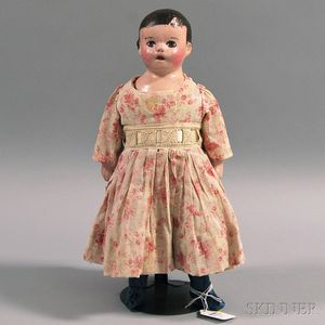 Alabama Cloth Molded Head Doll in a Pink and White Dress