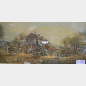 Framed H.L. Henry Illustration Depicting Passengers on a Canal Boat and a Hand-colored Print Depicting a 19th C...