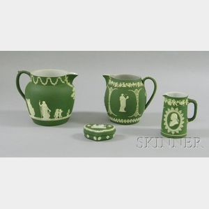 Four Wedgwood Olive Green Jasper Dip Items