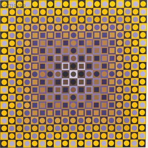 Victor Vasarely (French/Hungarian, 1906-1997)      Two Compositions in Gold