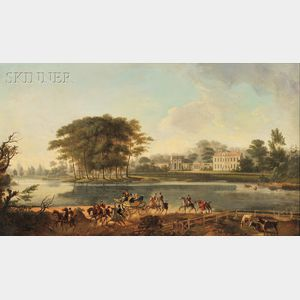 British School, 19th Century      Landscape with Carriage Departing from a Country Manor