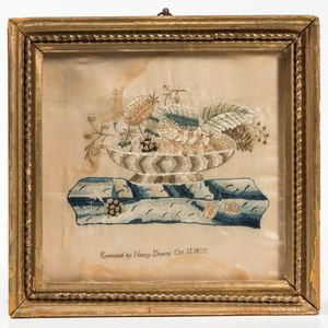 Silk Needlework Picture of a Bowl of Fruit