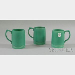 Three Wedgwood Keith Murray Designed Green Glazed Ceramic Mugs