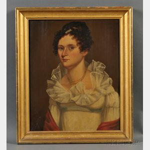American School, 19th Century      Portrait of a Young Woman Wearing a White Gown with a Red Shawl.