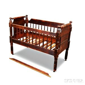 Classical Brown-painted Pine Crib