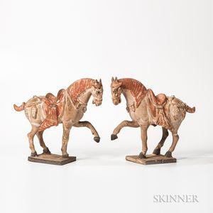 Pair of Caparisoned Pottery Horses