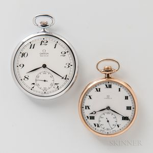 Two Omega Open-face Watches