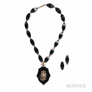 Victorian Onyx and Diamond Pendant/Necklace