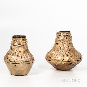 Two Shipibo Pottery Effigy Vessels