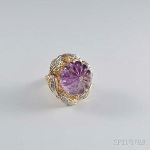 14kt Gold, Carved Amethyst, and Diamond Cocktail Ring