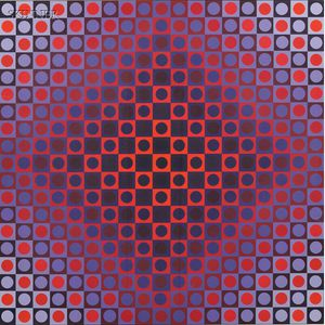 Victor Vasarely (French/Hungarian, 1906-1997)      Composition in Fuchsia and Lavender
