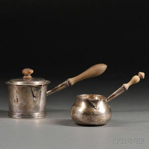 Two Georgian Sterling Silver Butter Warmers