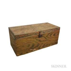 Polychrome Paint-decorated Poplar Flat-top Box